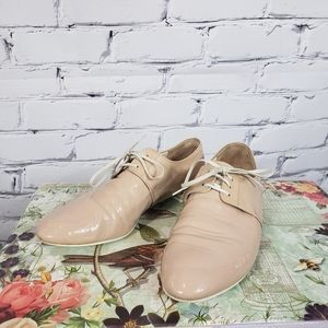 Prada Nude Patent Derby Flat Shoes